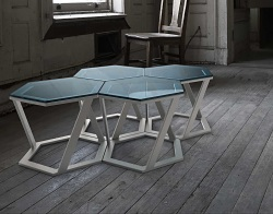 SIDE TABLE TWIST BLUE TINTED BRUSHED STAINLESS STEEL 48x48x35,8 CM (ET037B)