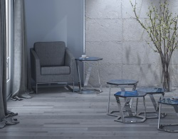 SIDE TABLE TWIST BLUE TINTED POLISHED STAINLESS STEEL 48x48x56 CM (ET040B)