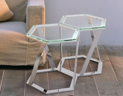 SIDE TABLE TWIST CRYSTAL POLISHED STAINLESS STEEL 48x48x45,8 CM (ET035R)