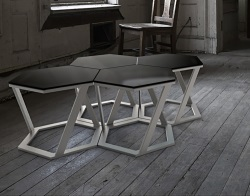 SIDE TABLE TWIST GREY TINTED ACID ETCHED BRUSHED STAINLESS STEEL 48x48x35,8 CM (ET037GA)