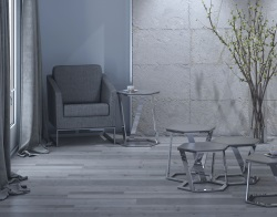 SIDE TABLE TWIST GREY TINTED ACID ETCHED POLISHED STAINLESS STEEL 48x48x56 CM (ET040GA)