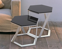 SIDE TABLE TWIST LACQUERED BLACK BRUSHED STAINLESS STEEL 48x48x45,8 CM (ET038LB)