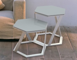 SIDE TABLE TWIST LACQUERED GREY BRUSHED STAINLESS STEEL 48x48x45,8 CM (ET038LG)