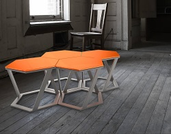 SIDE TABLE TWIST LACQUERED ORANGE BRUSHED STAINLESS STEEL 48x48x35,8 CM (ET037LO)
