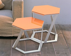 SIDE TABLE TWIST LACQUERED ORANGE BRUSHED STAINLESS STEEL 48x48x45,8 CM (ET038LO)