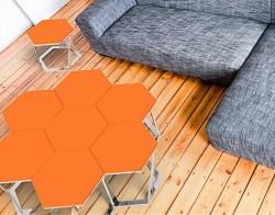SIDE TABLE TWIST LACQUERED ORANGE POLISHED STAINLESS STEEL 48x48x35,8 CM (ET034LO)