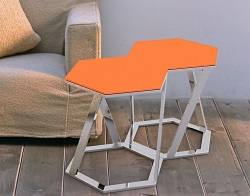 SIDE TABLE TWIST LACQUERED ORANGE POLISHED STAINLESS STEEL 48x48x45,8 CM (ET035LO)