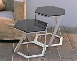 SIDE TABLE TWIST TINTED GREY BRUSHED STAINLESS STEEL 48x48x45,8 CM (ET038G)