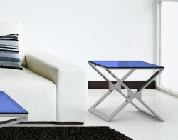 SIDE TABLE XENA BLUE TINTED POLISHED STAINLESS STEEL 50x50x48 CM (ET030B)