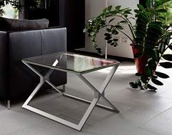 SIDE TABLE XENA CLEAR BRUSHED STAINLESS STEEL 65x65x48 CM (ET029C)