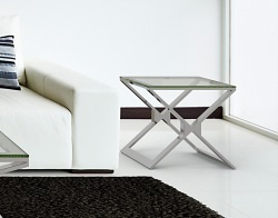 SIDE TABLE XENA CLEAR POLISHED STAINLESS STEEL 50x50x48 CM (ET030C)