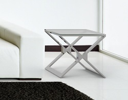 SIDE TABLE XENA CRYSTAL ACID ETCHED POLISHED STAINLESS STEEL 50x50x48 CM (ET030RA)