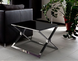 SIDE TABLE XENA LACQUERED BLACK BRUSHED STAINLESS STEEL 65x65x48 CM (ET029LB)