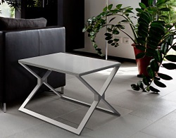 SIDE TABLE XENA LACQUERED GREY BRUSHED STAINLESS STEEL 65x65x48 CM (ET029LG)