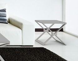 SIDE TABLE XENA LACQUERED GREY BRUSHED STAINLESS STEEL 50x50x48 CM (ET031LG)