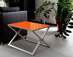 SIDE TABLE XENA LACQUERED ORANGE BRUSHED STAINLESS STEEL 65x65x48 CM (ET029LO)