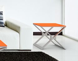 SIDE TABLE XENA LACQUERED ORANGE BRUSHED STAINLESS STEEL 50x50x48 CM (ET031LO)