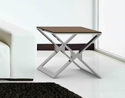 SIDE TABLE XENA SANDSTONE BROWN POLISHED STAINLESS STEEL 50x50x48 CM (ET030GB)