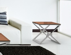 SIDE TABLE XENA SEPIA POLISHED STAINLESS STEEL 50x50x48 CM (ET030P)