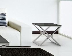 SIDE TABLE XENA TINTED GREY POLISHED STAINLESS STEEL 50x50x48 CM (ET030G)