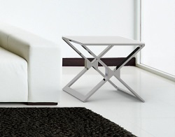 SIDE TABLE XENA WHITE ACID ETCHED POLISHED STAINLESS STEEL 50x50x48 CM (ET030LWA)