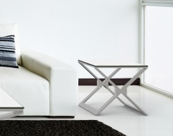 SIDE TABLE XENA WHITE CERAMICS BRUSHED STAINLESS STEEL 50x50x48 CM (ET031CW)