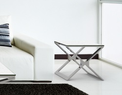 SIDE TABLE XENA WHITE CERAMICS POLISHED STAINLESS STEEL 50x50x48 CM (ET030CW)