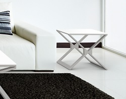 SIDE TABLE XENA WHITE LACQUERED BRUSHED STAINLESS STEEL 50x50x48 CM (ET031LW)