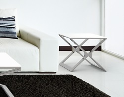 SIDE TABLE XENA WHITE LACQUERED POLISHED STAINLESS STEEL 50x50x48 CM (ET030LW)