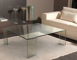 TABLE BASSE ASTORIA CLAIR VERRE COURBÉ A CHAUD 110x110x38 CM (CT012)