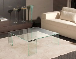 TABLE BASSE ASTORIA CRISTALLIN VERRE COURBÉ A CHAUD 90x90x35 CM (CT011R)