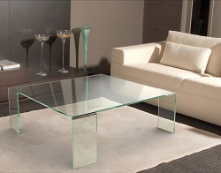 TABLE BASSE ASTORIA CRISTALLIN VERRE COURBÉ A CHAUD 110x110x38 CM (CT012R)