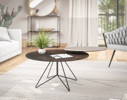 TABLE BASSE Interliving 6206 - 201 CT330SD CÉRAMIQUE ACIER ACIER LAQUÉ NOIR MAT 80 x 80 x 43 CM (CT630SD)