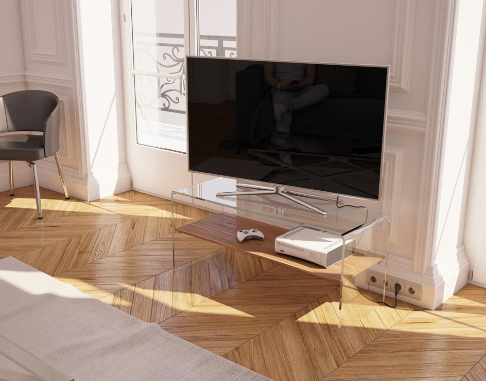 Design Tv Meubel Glas.Tv Meubel Atena Walnoot Gebogen Glas 103 X 40 X 45 Cm Tv004n