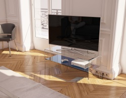 TV SET ATENA BLUE TINTED HOT BENT GLASS 103 x 40 x 45 CM (TV004B)
