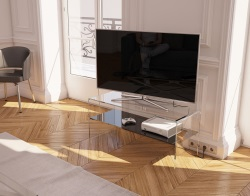 TV SET ATENA LACQUERED BLACK HOT BENT GLASS 103 x 40 x 45 CM (TV004LB)