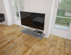 TV SET ATENA LACQUERED GREY HOT BENT GLASS 103 x 40 x 45 CM (TV004LG)