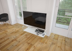 TV SET ATENA WHITE ACID ETCHED HOT BENT GLASS 103 x 40 x 45 CM (TV004LWA)