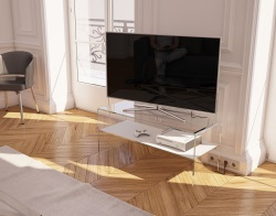 TV SET ATENA WHITE CERAMICS HOT BENT GLASS 103 x 40 x 45 CM (TV004CW)