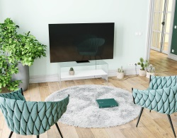 TV SET ATENA WHITE LACQUERED HOT BENT GLASS 103 x 40 x 45 CM (TV004LW)