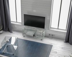 TV SET MIKA AVEC TABLETTE CRYSTAL HOT BENT GLASS 104x40x42 CM (TV076R)
