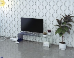 TV SET SEURAT BLUE HOT BENT GLASS 140x40x40 CM (TV078BL)